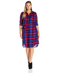 Lucky Brand - Plus Size Bungalow Plaid Dress In Navy Multi - Lyst