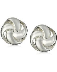 "Anne Klein - ""classy Clippers"" Silver-tone Knot Clip-on Earrings - Lyst"