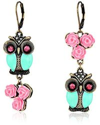 Betsey Johnson - Pet Shop Vintage Owl Non-matching Earrings Blue/pink Drop Earrings - Lyst