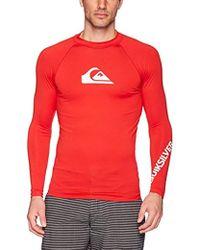 Quiksilver - All Time Long Sleeve Rashguard Swim Shirt Upf 50+ - Lyst