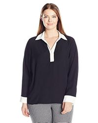Calvin Klein - Plus Size Long-sleeved Top With Contrasting Cuff - Lyst