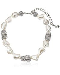 """Kenneth Jay Lane - Pearl And Rhodium Pave Bead Necklace, 13"""" - Lyst"""