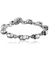 King Baby Studio - Small Skull Sterling Silver Bracelet - Lyst