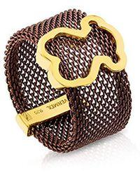 a70fdbbc190b Tous - Anillo Mesh de acero IP marrón con motifo de vermeil. Ancho  1