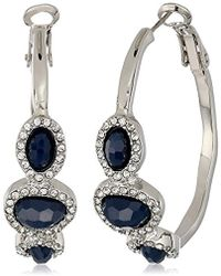 T Tahari - Mystic Sands Hoop Earrings With Stones, Silver, One Size - Lyst