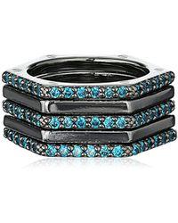 Nicole Miller - Artelier Hex Set Of 5 Stackable Ring, Size 7 - Lyst
