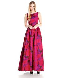 Adrianna Papell - Boatneck Sleeveless Ball Gown - Lyst