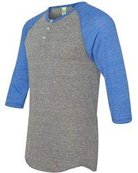 Alternative Apparel - Raglan 3/4 Sleeve Henley Shirt - Lyst