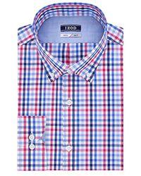 Izod - Slim Fit Stretch Tattersall Buttondown Collar Dress Shirt - Lyst
