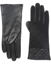 Adrienne Vittadini - Leather And Spandex Gloves With Cashmere Lining - Lyst