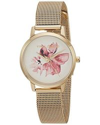 Vince Camuto - Vc/5346wtgb Floral Pattern Dial Gold-tone Mesh Bracelet Watch - Lyst