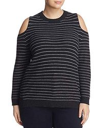 6bb47f469c974 Lucky Brand - Stripe Cold Shoulder Pullover Plus-size Sweater - Lyst