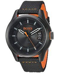 BOSS - 'hong Kong Sport' Quartz Resin And Nylon Casual Watch, Color Black (model: 1550003) - Lyst