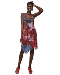 Desigual - Damen Dress Sleeveless Pequot Woman Red Kleid - Lyst