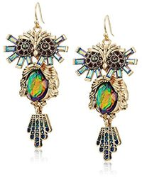 Betsey Johnson - Surreal Forest Colorful Owl Drop Earrings - Lyst