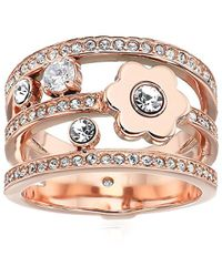 Michael Kors - S In Full Bloom Floral And Crystal Accent Stacked Ring - Lyst