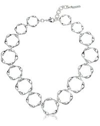 """Nine West - Silver-tone 16"""" Collar Necklace - Lyst"""