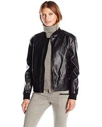 Guess - Tavia Stretch Faux Leather Bomber Jacket - Lyst