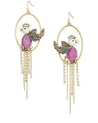 Betsey Johnson - S Purple Bird Cage Orbital Earrings - Lyst