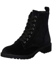 63440976f78 Steve Madden Officer Leather Flat Lace Up Ankle Boots in Black - Lyst