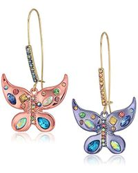 Betsey Johnson - S Blooming Betsey Colorful Butterfly Drop Earrings, Multi, One Size - Lyst