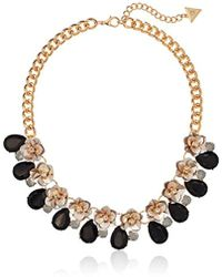 Guess - S Floral Motif Collar Necklace With Stone Accents - Lyst