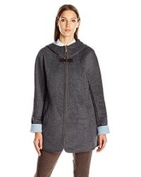 Ellen Tracy - Outerwear Zip Up Hooded Wool Double Face A-line Coat - Lyst