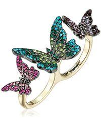 Betsey Johnson - Butterfly Butterfly Double Ring, Size 7.5 - Lyst