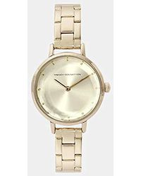 French Connection Quartz Watch With Gold Dial Analogue Display And Stainless Steel Gold Plated Bracelet Fc1275gm