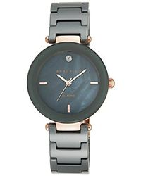 Anne Klein - Ak/1018rggy Diamond-accented Rose Gold-tone And Grey Ceramic Bracelet Watch - Lyst