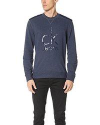 Calvin Klein - Mixed Media Ckj Logo Crew Neck Sweatshirt, - Lyst