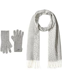 CALVIN KLEIN 205W39NYC - Two Piece Woven Border Scarf, Knit Touch Glove Set - Lyst