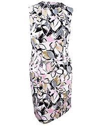 Kasper - Embellished Neck Artsy Floral Printed Dress - Lyst