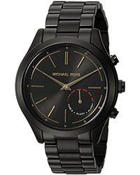 aeef3fb99e0c Lyst - Michael Kors 42mm Slim Runway Leather Strap Watch in Black