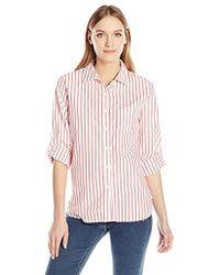 Stateside - Stripe Raw Edge Button Down Shirt - Lyst