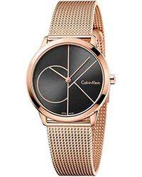 Calvin Klein Reloj Analogico para Mujer de Cuarzo con Correa en Acero Inoxidable K3M22621 - Negro