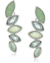 Judith Jack - Sterling Silver And Green Crawler With Swarovski Marcasite Stud Earrings - Lyst