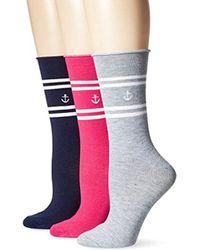 Nautica - Simple Stripe 3 Pack Fashion Crew Sock - Lyst
