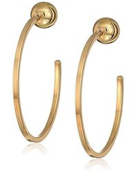 Guess - Ball End C Hoop Earrings, Gold, One Size - Lyst