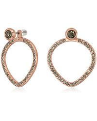 Kenneth Cole - Supercharged Collection Rose Gold With Black Diamond Stones Earring Jackets - Lyst