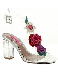 Betsey Johnson Abigail Transparent Flower Ornament Ankle Strap Block Heel Dress Sandals hUvr5HQeN