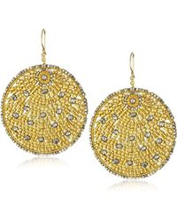 Miguel Ases - Pyrite Quartz And Swarovski Gold Beaded Round Earrings - Lyst