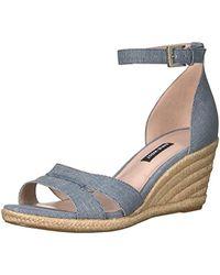 Nine West - Jabrina Leather Wedge Sandal - Lyst