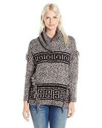 Kensie - Fuzzy Mixed-media Sweater - Lyst