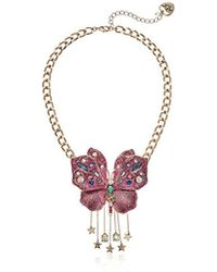 Betsey Johnson - S Blooming Betsey Pink Glitter Butterfly Pendant Necklace, One Size - Lyst