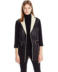 Two By Vince Camuto - Shearlingback Pleathr Exposed Seam Vest - Lyst