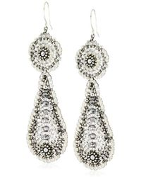 Miguel Ases - Pyrite Bead And Sterling Silver Contrast Station Earrings - Lyst