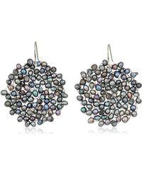 Kenneth Cole - S Grey Pearl Woven Drop Earrings, One Size - Lyst