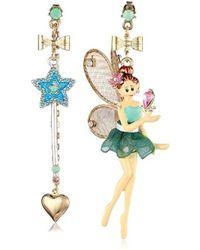 "Betsey Johnson - ""fairyland"" Fairy Mismatch Drop Earrings - Lyst"