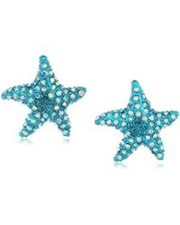 Betsey Johnson - S Blue Starfish Stud Earrings - Lyst
